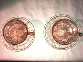 Vintage 2 Pink Doric Depression Glass Cup and Saucers Dinnerwaare - $15.19