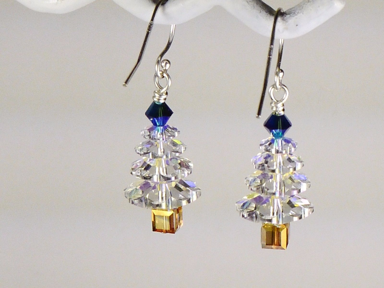 Christmas Tree  Earrings/Blue Gold / made w/Swarovski Crystal Elements / .925 image 2