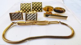 LOT OF 5 VTG (1) SWANK GOLD TONE METAL CUFF LINKS TIE BAR CLIPS - $19.80