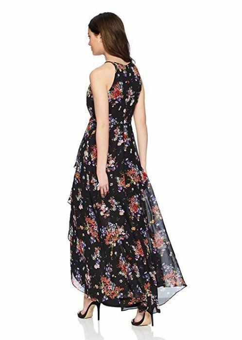 New Sangria Women's Petite High-Low Maxi Dress Multi Black Purple-Red Floral 14P