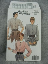 Vogue Pattern 7893 Misses Miss Petite 12-16 Blouse loose fitting collar ... - $7.91