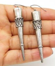 925 Sterling Silver - Vintage Swirl Twist Detail Pointed Dangle Earrings - E5851 - $34.50
