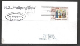 1957 Paquebot Cover Columbia stamp used in Boston Mass (Mar 9) - $5.00