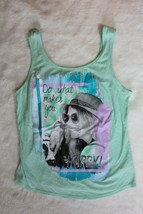 Justice Girls Top Sz 16 Sea Green Do What Makes You Happy Tank Casual Sc... - $16.60