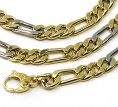 """18K YELLOW WHITE GOLD CHAIN BIG 6 MM ROUNDED FIGARO GOURMETTE ALTERNATE 3+1, 24"""" image 2"""