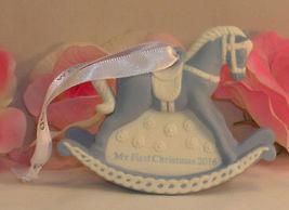 New Wedgwood Blue Jaspeware Baby 1ST First Christmas Rocking Horse Ornament 2016 image 4