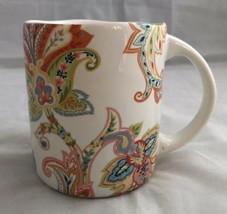 "222 Fifth Indochine Paisley Floral Coffee Mug Tea Cup 3-3/4"" Orange Gree... - $18.69"