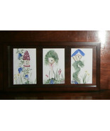 """3 Small Birdhouse Paintings Framed Together Under Glass 17"""" x 9"""" Acrylic... - $19.34"""