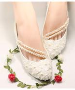 Wedding shoes ivory lace bridal flats lace wedding flats UK Size 2,3,4,5... - £30.95 GBP