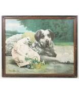 Antique Framed Print Girl w/ Large Dog Victorian Era - $193.04