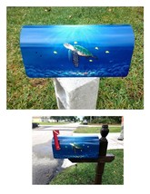 Hand Painted Mailbox Sea Turtle underwater animal sea life nautical fish... - $89.00