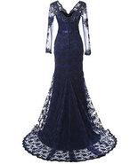 Navy Blue Mermaid Mother of the Bride Dresses, Long Prom Dress Long Sleeves - $159.99+