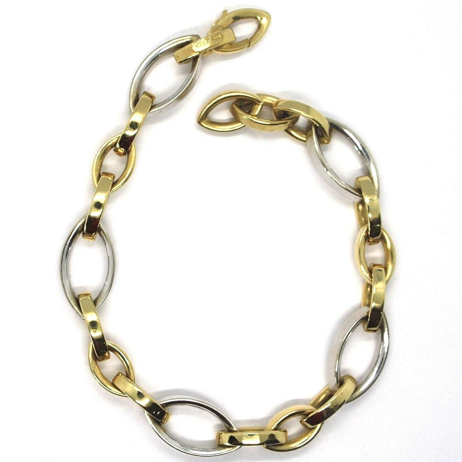 SOLID 18K YELLOW WHITE GOLD BRACELET, OVAL EYE ALTERNATE LINK, MADE IN ITALY