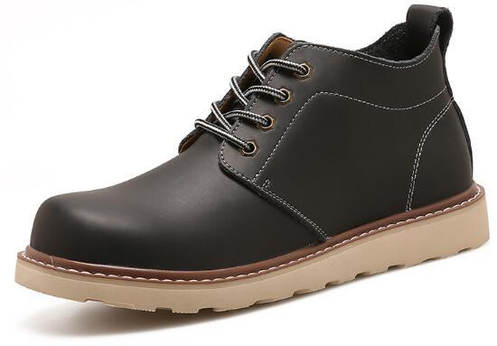 W50 Men's Casual Sport Width Fit Leather Soft Flats Retro Martin Work Boots Hiki