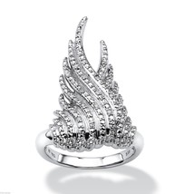 PLATINUM OVER STERLING SILVER DIAMOND ACCENT  COCKTAIL RING SIZE 6 7 8 9 10 - $180.49