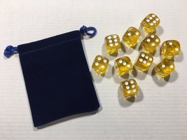 Ten Piece - Six Sided Dice Set & Bag - Amber Clear / White Die Pips -=NEW=- - $6.60