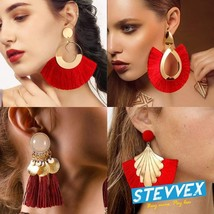 Bohemian Big Tassel Dangle Drop Earrings for Women Statement Wedding Red... - $13.99