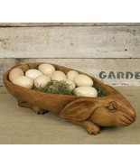 Rustic PRIMITIVE RABBIT BOWL Treen Farmhouse Resin Country Spring Easter... - $55.09