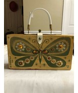 Vintage ENID COLLINS 60's Wood BOX Handbag Jewel Butterfly PAPILLON Purs... - $138.97
