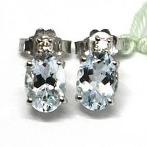 18K WHITE GOLD AQUAMARINE EARRINGS 1.30 CARATS, OVAL CUT, DIAMONDS, ITALY MADE image 2