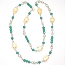 NECKLACE THE ALUMINIUM LONG 90 CM WITH SHELL AND CRYSTALS STRASS GREEN image 2
