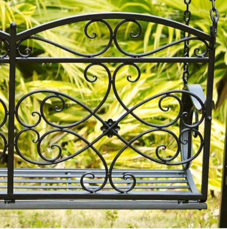 Black 4' Metal Porch Swing w/ Stand Durable Outdoor Swing for Deck Patio Garden image 3