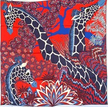 Hermes Giraffes The Three Graces Silk Scarf 90cm Rouge  20years on eBay - $470.25
