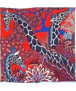 Hermes Giraffes The Three Graces Silk Scarf 90cm Rouge  20years on eBay - $470.25