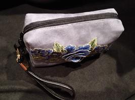 Clutch Bag/Wristlet/Makeup Bag Blue Floral Applique on Gray Faux Suede image 4