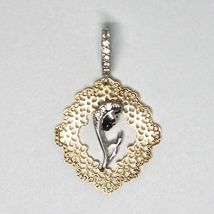 Pendant Medal, Yellow Gold White 750 18K, Virgo Mary Jane, with Frame, Flowers image 3