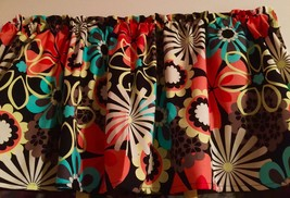 "Big Bold Flowers 70's Summer 42"" W 15"" L Window Curtain Valance Cotton T... - $9.79"