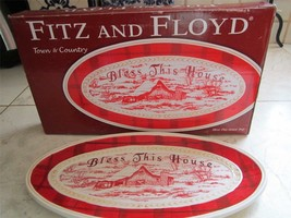 NEW IN BOX FITZ AND FLOYD CHRISTMAS CANAPE BLESS THIS HOUSE  PLATE - $14.24