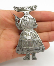 925 Silver - Vintage Antique Etched Detail Woman In Dress Brooch Pin - B... - $92.62