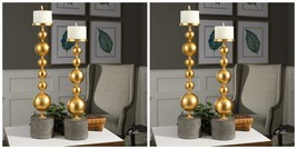 Four Selim Modern Urban Metallic Gold Candle Holders Stained Concrete Base - $435.60
