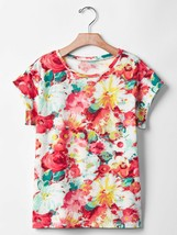 Gap Kids Girl Tee Shirt 10 Floral Red Green Yellow Round Neck Cotton Cap... - $14.99