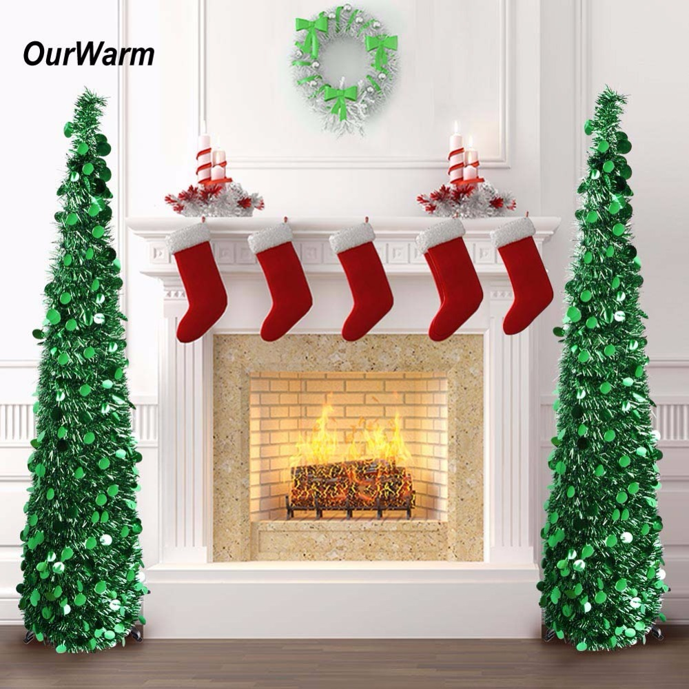 Silver Tinsel Pop Up Christmas Tree: OurWarm 5ft Pop Up Artificial Christmas Tree Decorations