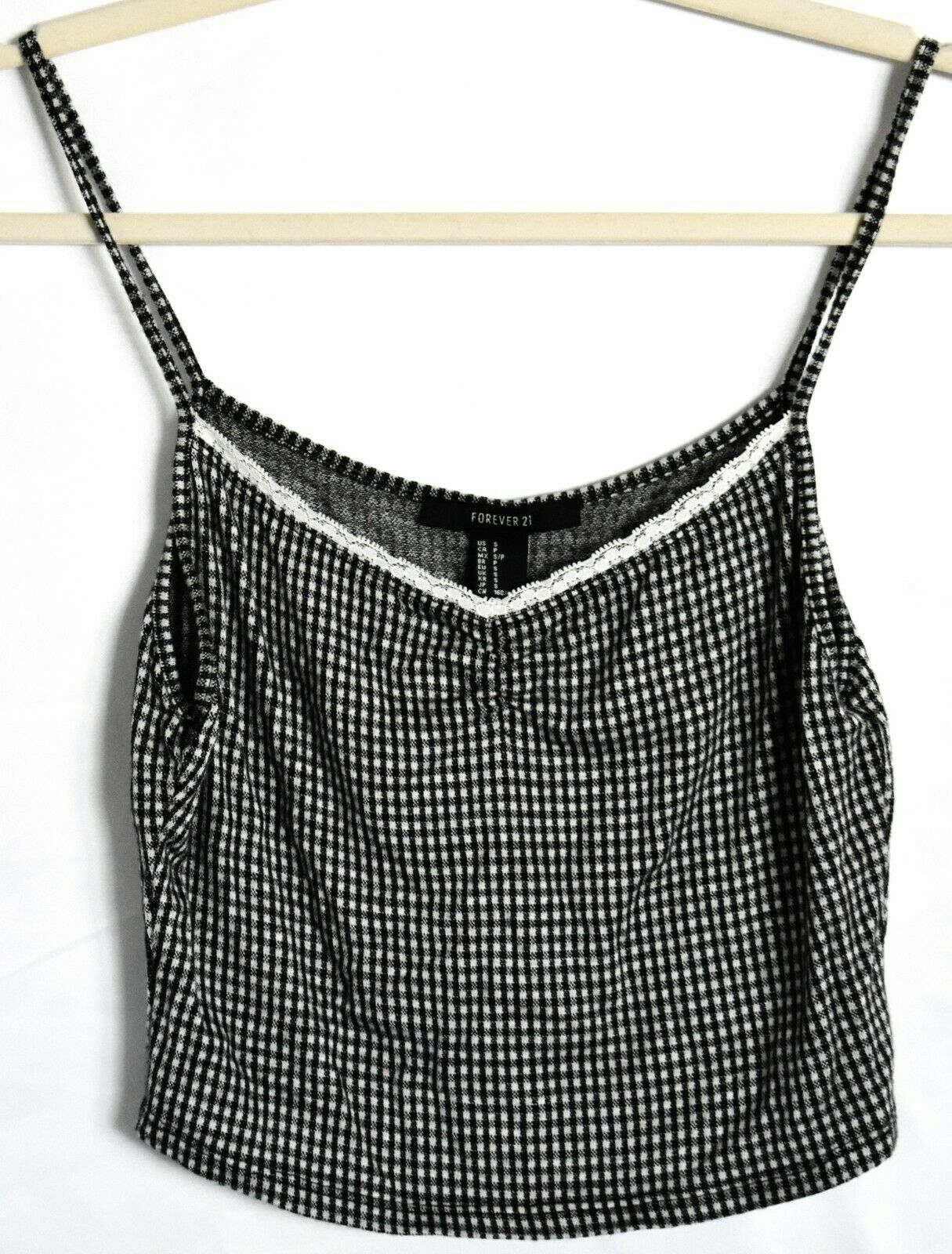 Forever 21 Check Gingham Plaid Cropped V-Neck Tank Top Size S
