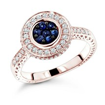 0.70Ct Rond Saphir Bleu & Diamant Bague de Fiançailles 14K or Rose Sur - $78.17