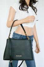 NWT MICHAEL KORS SOFIA LARGE EAST WEST SATCHEL LEATHER SHOULDER BAG BLACK - $103.93