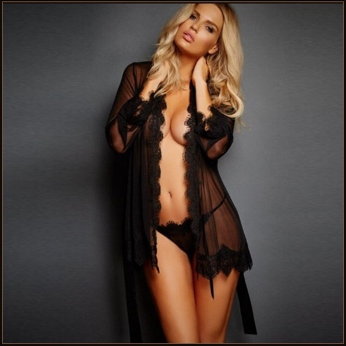Erotic Black Lace Trimmed Transparent Long Sleeve Belted Kimono Robe Plus Sizes