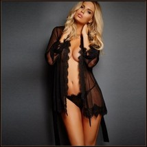 Erotic Black Lace Trimmed Transparent Long Sleeve Belted Kimono Robe & G String