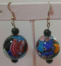 Vintage Multi-color Art Glass Dangle Hook Earrings Heavy - $22.28