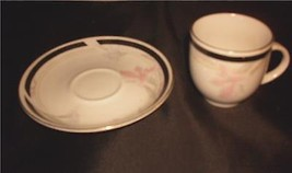 Red Sea Demi Cup & Saucer White with Floral Pink Iris Pattern - $13.99