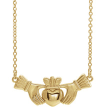 14K Yellow, 14K White or 14K Rose Gold Claddagh Necklace - $269.99