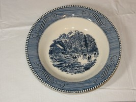 """Vintage Royal Currier & Ives Early Winter Blue White 8 1/2"""" Soup / Cerea... - $20.78"""