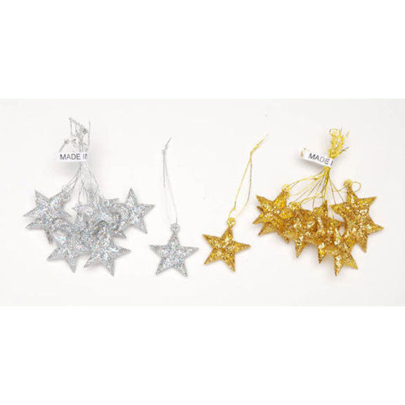 HOLIDAY CRAFT Ornaments - Plastic - Star - Gold Laser Glitter - 1 inch  #2462-57