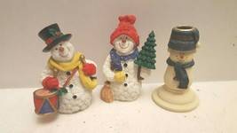 Partylite ceramic Tealight Snowman Christmas Holiday Candle Holder Winte... - $19.99
