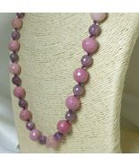 Rhodonite and Lepidolite Round Gemstone Beaded Necklace - $58.00