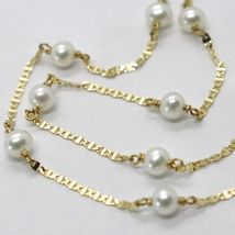 18K YELLOW GOLD NECKLACE, OVAL FLAT CHAIN ALTERNATE WITH WHITE MINI PEARLS 4 MM image 3