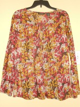Eddie Bauer Floral Multi Orange Brown Tones Sz L Long Sleeve Cotton Blouse Tunic - $21.32